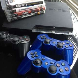 PS3 + 3controllers + games
