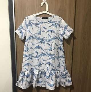 Dress white blue bird printed