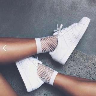 'LAST SET' 2 Pairs of White Fishnet Socks - Brand new
