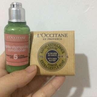 Loccitane soap and conditioner