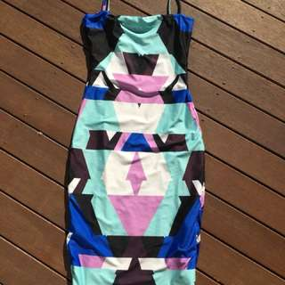 Kookai dress Size 1 Or 6-8. Geometric / Colourful