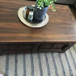 Solid wood tv unit coffee table and lamp side table