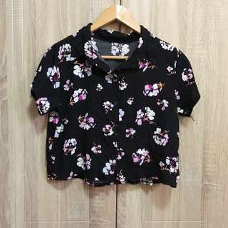 Black floral cropped polo
