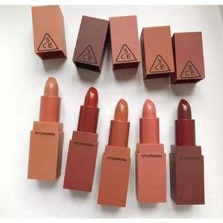 5pcs 3CE lipstick Colour Mini