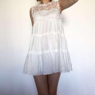 🆕清貨價 韓國 白色lace 裙 背心
