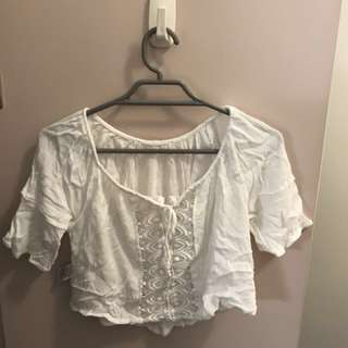 White Lace Crop Top Size 6