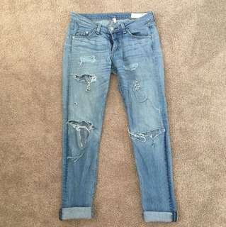Rag and Bone Distressed Denim Jeans Sz 26