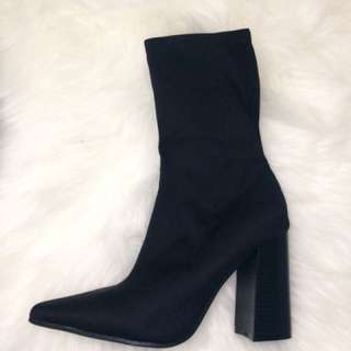 """Almost Calf Length """"Sock"""" Boots"""