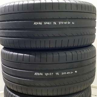 大量二手車呔YOKOHAMA ADVAN SPORT 275-45-20 85%NEW價錢一對計
