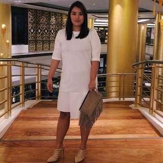 Barely Used Stella White Neoprene Longsleeve Dress