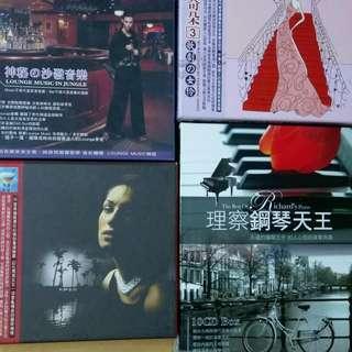情歌瑪奇朶歌劇女伶3CD,爵色魅影情歌3CD,沙發音樂3CD,理察鋼琴天王1OCD,4組品相極新無損壞合售。