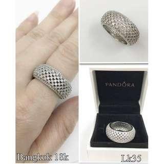 Authentic Pandora Bangkok White Gold 18K Sparkling Curve Ring