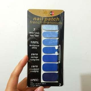淨色深淺藍色指甲貼美甲貼
