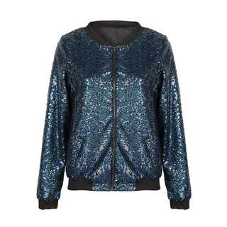 BNWT navy sequin zip jacket