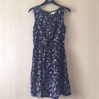New Look Navy Birds Print Shirred Waist Mini Dress