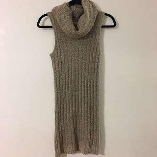 Sleeveless Turtle Neck Sweater Dress