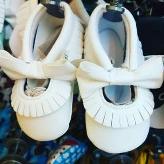 White Ribbon Baby Shoes