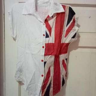 Kemeja Putih Motif Bendera Inggris