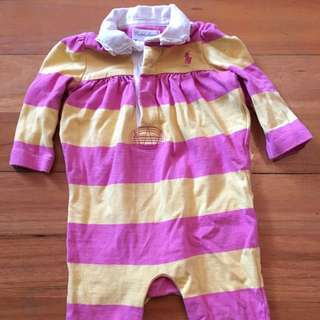 Baby Polo Ralph Lauren Long Sleeved Romper Onesies Pink Yellow 0-3 Months