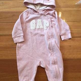 Baby Girl Gap Hoodie Romper Onesies Clothes Pink 3-6 Months