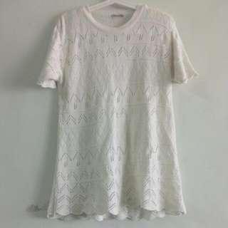 🚚 古著日系超可愛的葉子鏤空針織毛衣短洋裝