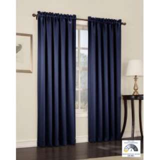 "Sun Zero Barrow Energy Efficient Rod Pocket Curtain Panel, 54"" x 84"", Navy Blue"