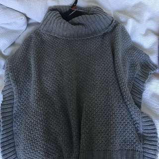 Cute Grey, Knitted, Turtleneck Sweater