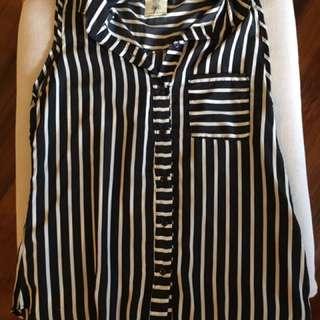 Striped Sleeveless Blouse