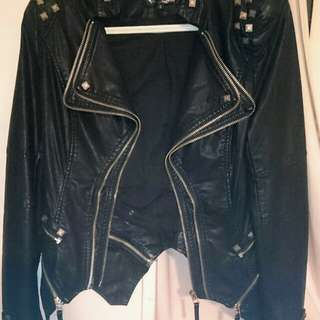 black leather zip-up jacket Size Small