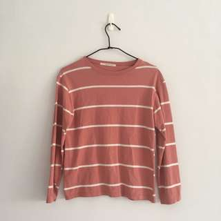 #二手「上衣」粉紅條紋長袖 #幫你省運費