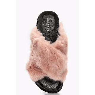 BOOHOO Freya Fur Cross Front Slider