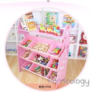 Pink Kids Toy Rack Organizer Cabinet Storage Book Shelf Container Box Baby Child Furniture Playground Plastic Shelves Drawer Children Bookshelf Gift Idea