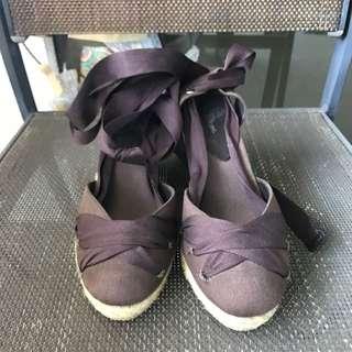 Dark Brown Lace Up Espadrilles