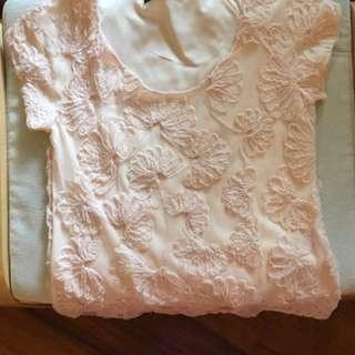 Pink floral embellished top
