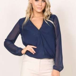 Showpo long sleeve navy blouse with silver stripes