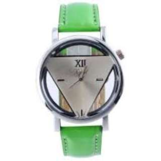 Unisex Unique Hollowed-out Triangular Quartz Analogue Dial Display Wristwatch Lime Green