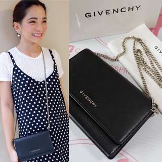 Authentic Givenchy Wallet on Chain Black leather Silver hardware