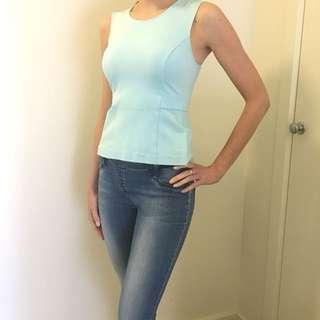 Blue Bardot top