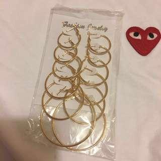 Gold large hoop earring bundle