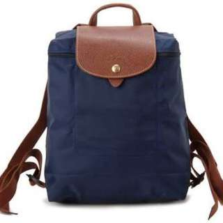 Authentic navy longchamp backpack