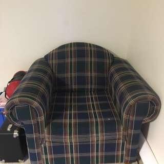 Single Green Tartan Couch