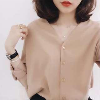 高質感奶茶色簡約兩穿襯衫上衣