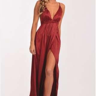 Full length deep red formal dress