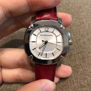 🚚 近全新!BURBERRY 紅色皮錶帶 女錶