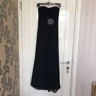 [NEW] Black party longdress baju pesta size S with tag (bolong kecil di bagian rok)