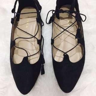 Lace up Flatshoes Black