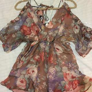 Bardot floral playsuit