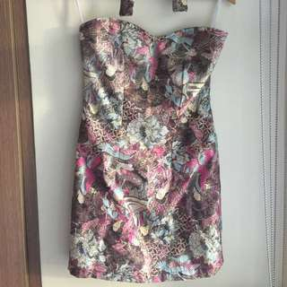 Oriental Design Halter Dress