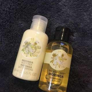 Body Shop Moringa shower gel & body milk