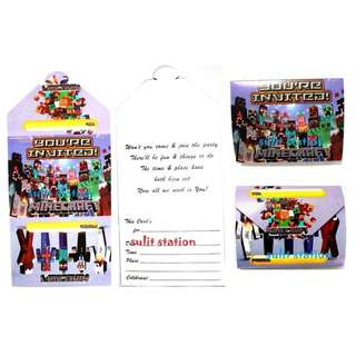 MINECRAFT PARTY INVITATION CARDS